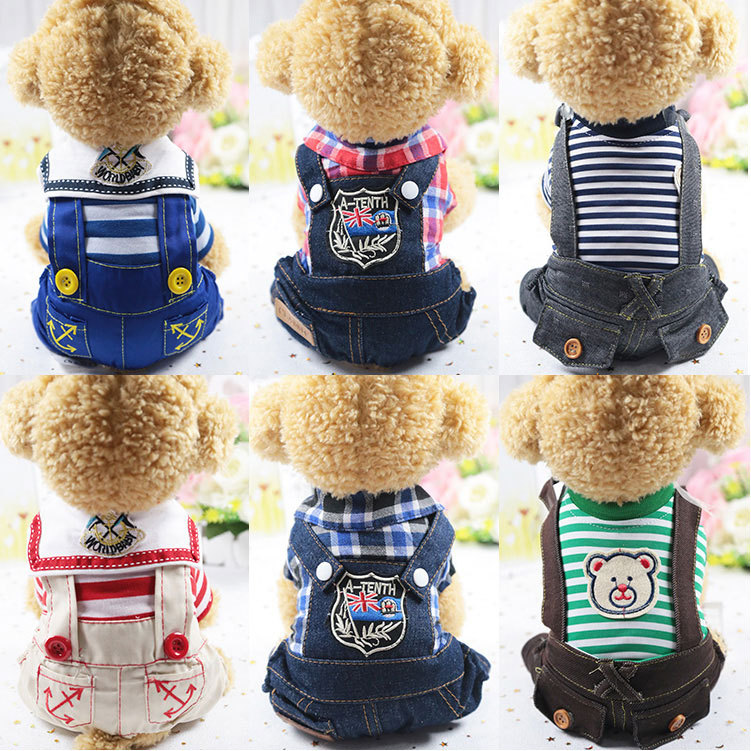 Autumn New dog outfit four-legged clothes small costume denim plaid bib pet coat  clothing