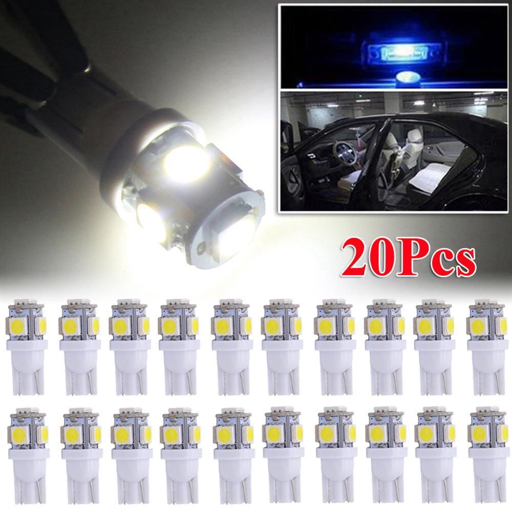 20 шт T10 светодиодный номерного знака автомобиля Подсветка салона лампы 6000K белый 168 2825 194 W5W, Длительное Действие, светодиодный светильник 50000 ...