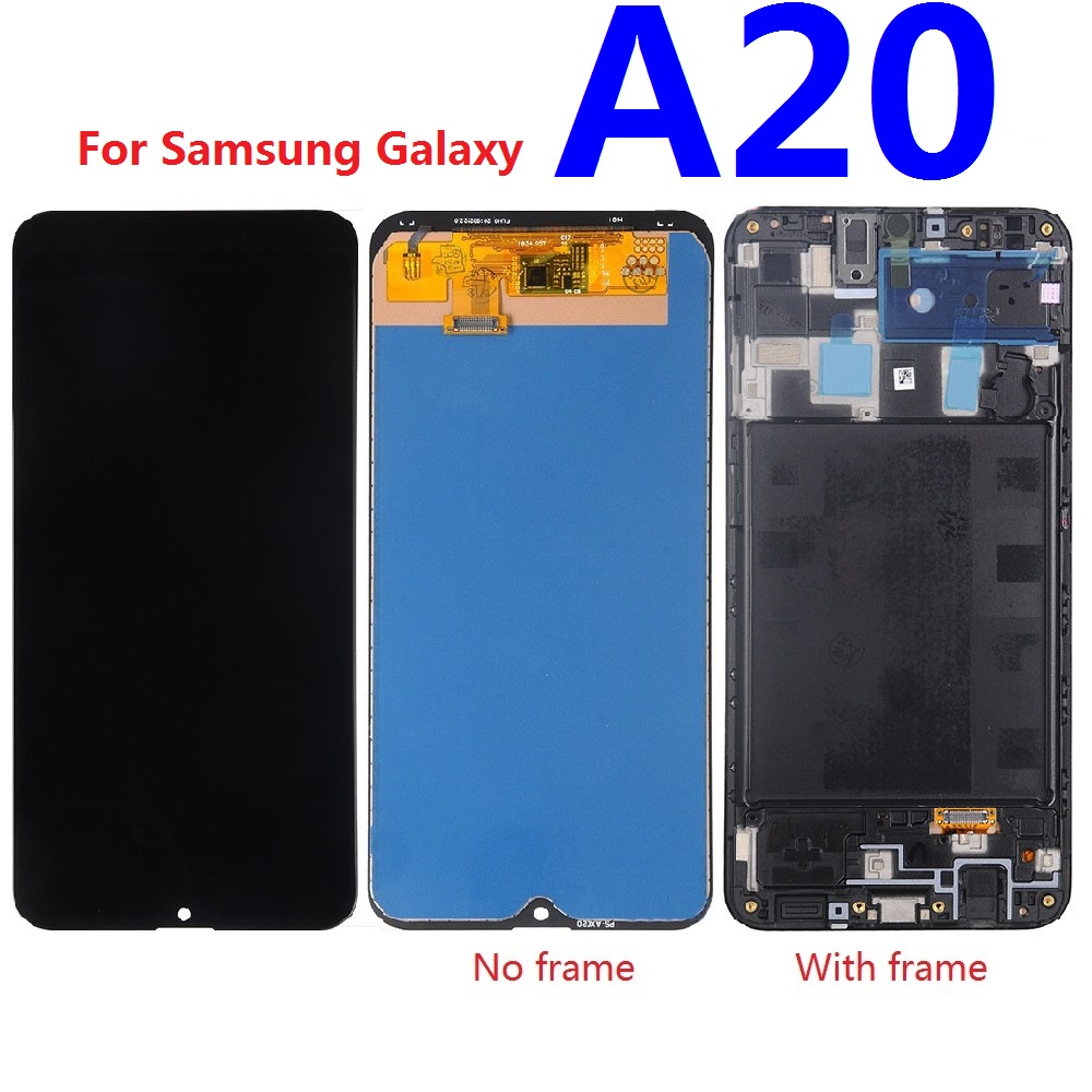 For Samsung Galaxy A20 A205 <font><b>SM</b></font>-<font><b>A205F</b></font> A205FN <font><b>A205F</b></font>/DS A205M A205GN/DS LCD Display Touch Screen Digitizer Sensor Replacement Frame image