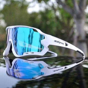 Revestido espelho completo ciclismo óculos de sol dos homens ciclismo óculos para esportes ciclismo óculos de proteção da bicicleta ciclismo uv400 3 lente 1