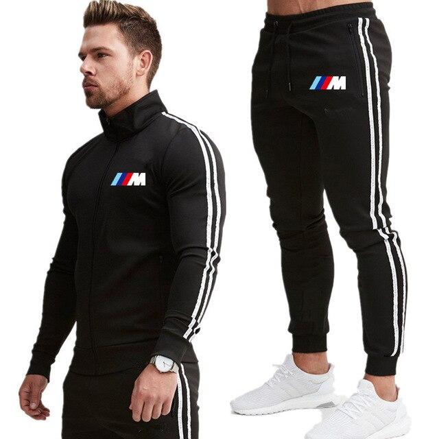 גברים מקרית סטי 2021 סתיו חדש BMW M אחוי אצן אימונית רוכסן נים + מכנסיים 2PC סטי גברים של ספורט ספורט חליפת בד K