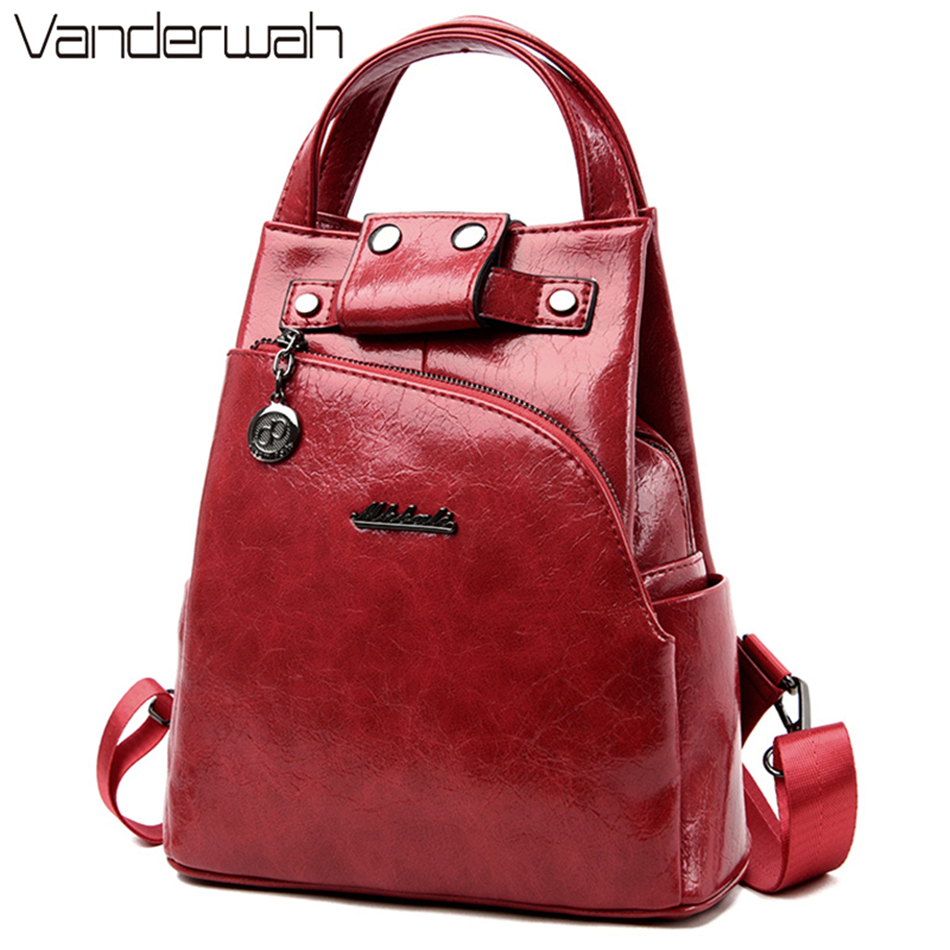 New Women Oil Skin Leather Backpacks Female Chest Bags For Teenage Girls Sac A Dos Travel Ladies Bagpack Mochilas Preppy Style