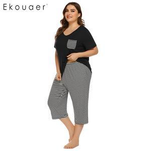 Image 4 - Ekouaer Mulheres Plus Size Conjuntos de Pijama Pijamas de Verão de Manga Curta Tops Listrado Capri Calças Pijama Terno Sleepwear Feminino