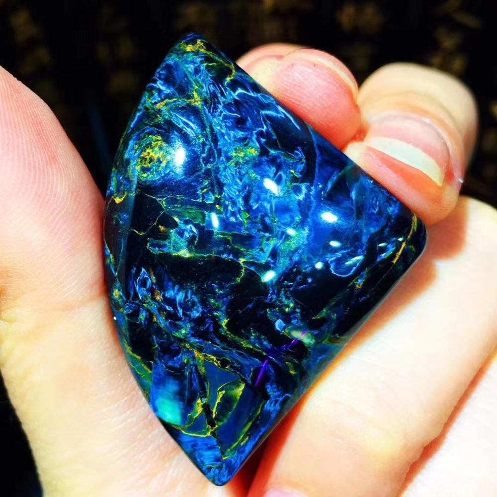 Image 3 - Natural Blue Pietersite Gemstone 43*31*9.5mm Cat Eye Powerful Chatoyant Women Necklace Pendant Crystal Fan Shape Healing AAAAAPendants   -
