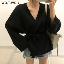 WOTWOY Autumn Winter Knitted Sweater Coat Women 2019 Sexy V-neck Belt Outwear Female Cardigans Fashion Full Sleeve Clothes
