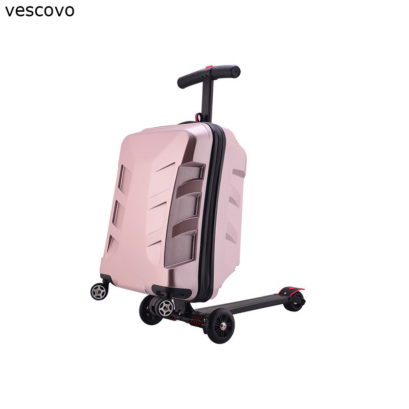 Vescovo 21inch Transformers PC Men Travel Suitcase Scooter High Quality Rolling Luggage Trolley Bag On Wheels