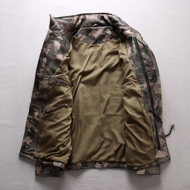 Mens Stand Collar Slim Sheepskin Jacket Designer Camouflage Military Army Short Coat Fashion Multi Pockets Streetwear Outwear