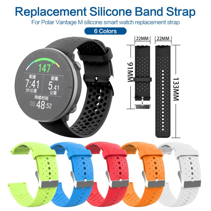Replacement Strap Band Polar Vantage M Bands Soft Silicone Sport Breathable Air Water-Proof Replacement Strap