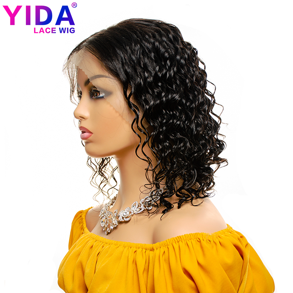 Deep Wave Short Bob Wigs Remy 13*4 Lace Front Human Hair Wigs For Black Woman Brazilian Short Bob YIDA Wig