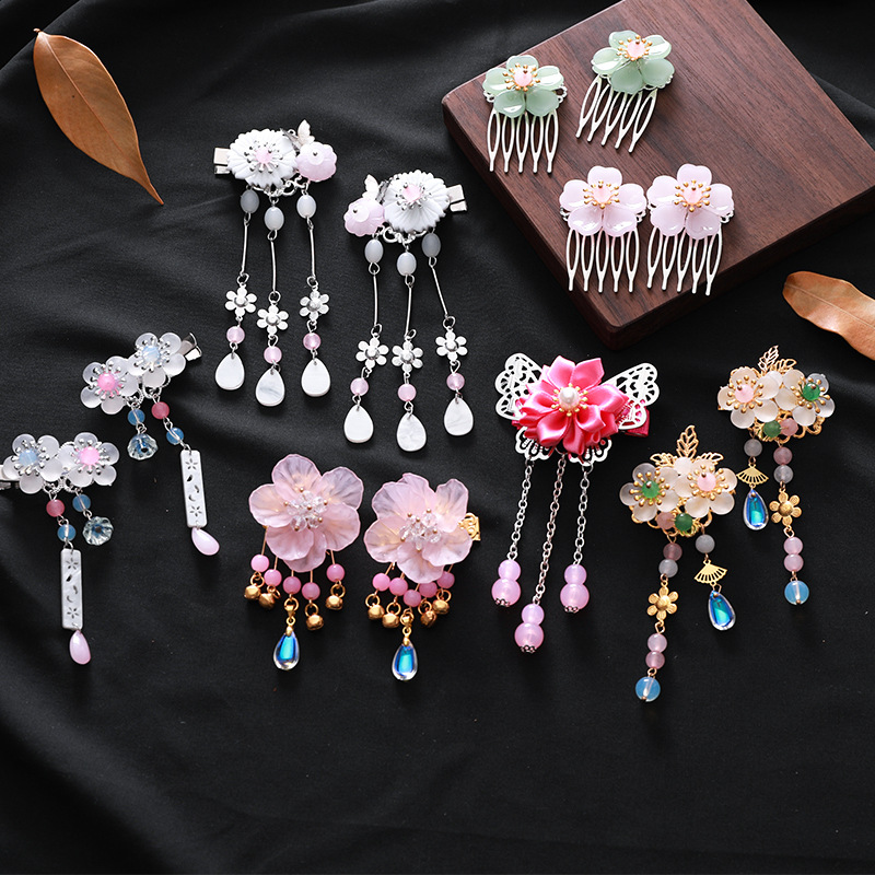UNTAMED 1pc/2pcs Antiquity Chinese Hairpins Girls Flowers Hair Comb Clip Tassel Hair Pins Kids Baby Headwear Hair Accessories
