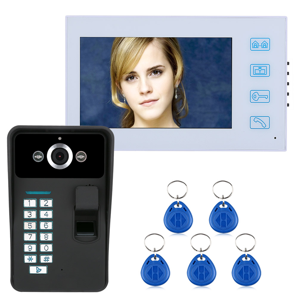 7 Inch Wired Video Door Phone Visual Video Intercom Two-way Audio Intercom Fingerprint With Waterproof Outdoor IR Camera