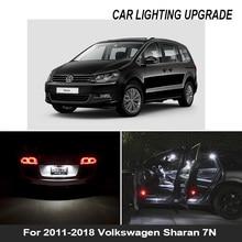 17pcs Canbus LED license plate lamp for Volkswagen for Sharan 7N (2011 2018) LED bulb interior light full kit package
