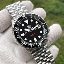 STEELDIVE reloj mecánico SKX007 NH35 para hombre, reloj automático de cristal de zafiro, de acero 316L, con bisel de cerámica de 1996 m