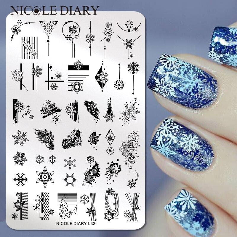 Николь дневник большой размер Снежинка ногтей штамповки пластины Рождество Печать Шаблоны Леопард снег изображение Трафарет Инструмент Шаблоны для дизайна ногтей      АлиЭкспресс - Для красоты и здоровья