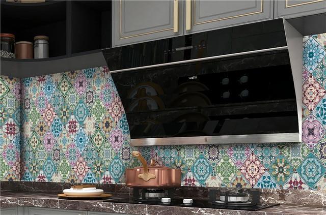 المطبخ خلفية ارتفاع درجة الحرارة مكافحة النفط لصق المطبخ ملصقا ذاتية اللصق احباط مقاوم للماء الحمام خلفية 6