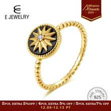 E Jewelry 100% 925 Sterling Silver Star Rings for Women 18K Gold Plated Silver Black Agate Gemstone Ring Fashion Jewellery 2019(China)