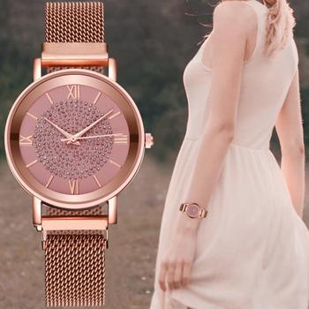 Lady Quartz Watch Stainless Steel Mesh Strap Watch Fashion Women Wristwatch Roman Numerals Brand Clock