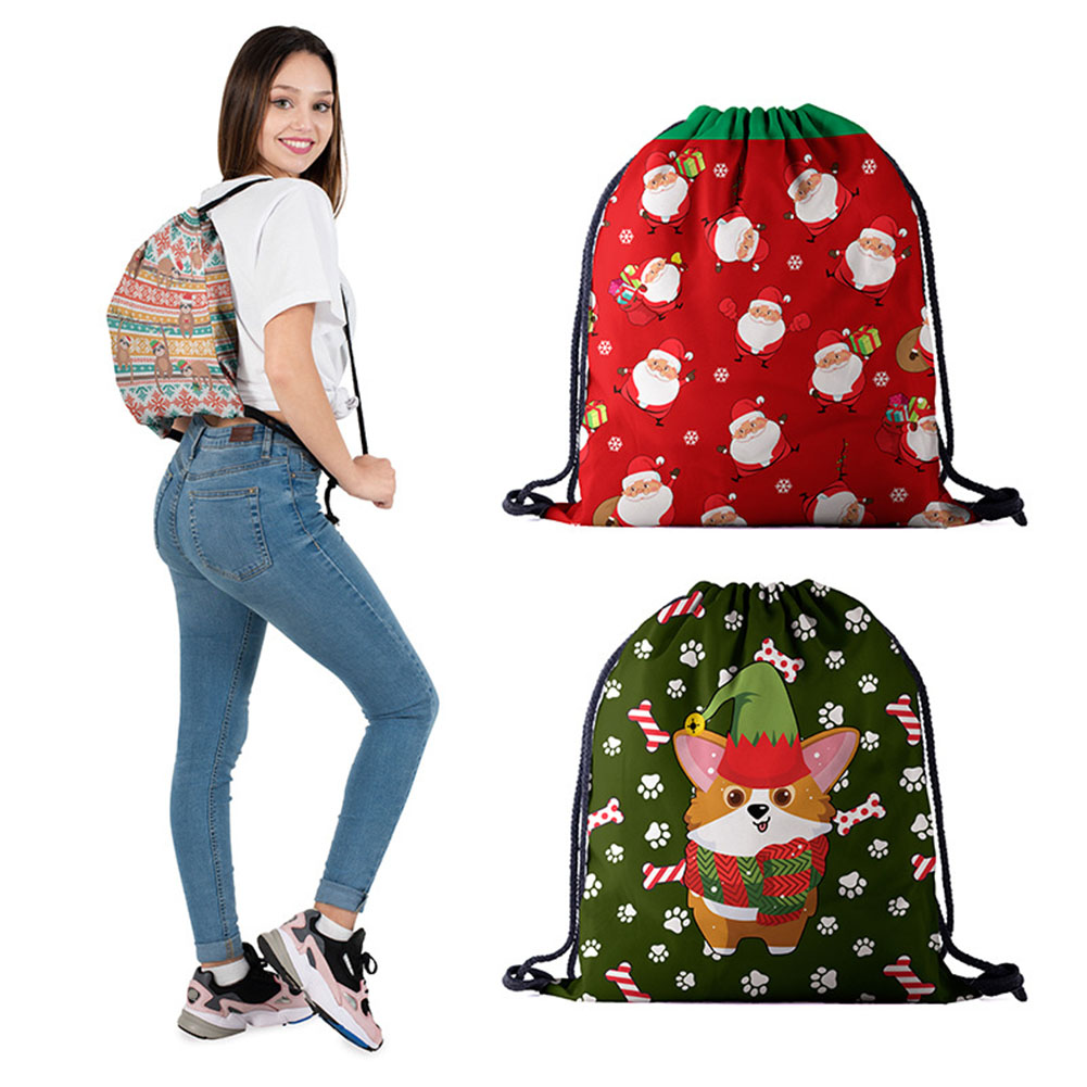 Travel Storage Bag Non-Woven Bags Drawstring Christmas Women Bag 3D Digital Print Bouquet Pocket Backpack