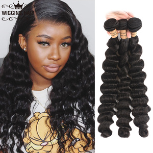 Peruvian Loose Deep Wave 3 Bundles 8 10 12 14 16 18 20 22 24 26 28 inch Bundles Remy Human Hair Natural Color Wiggins Hair