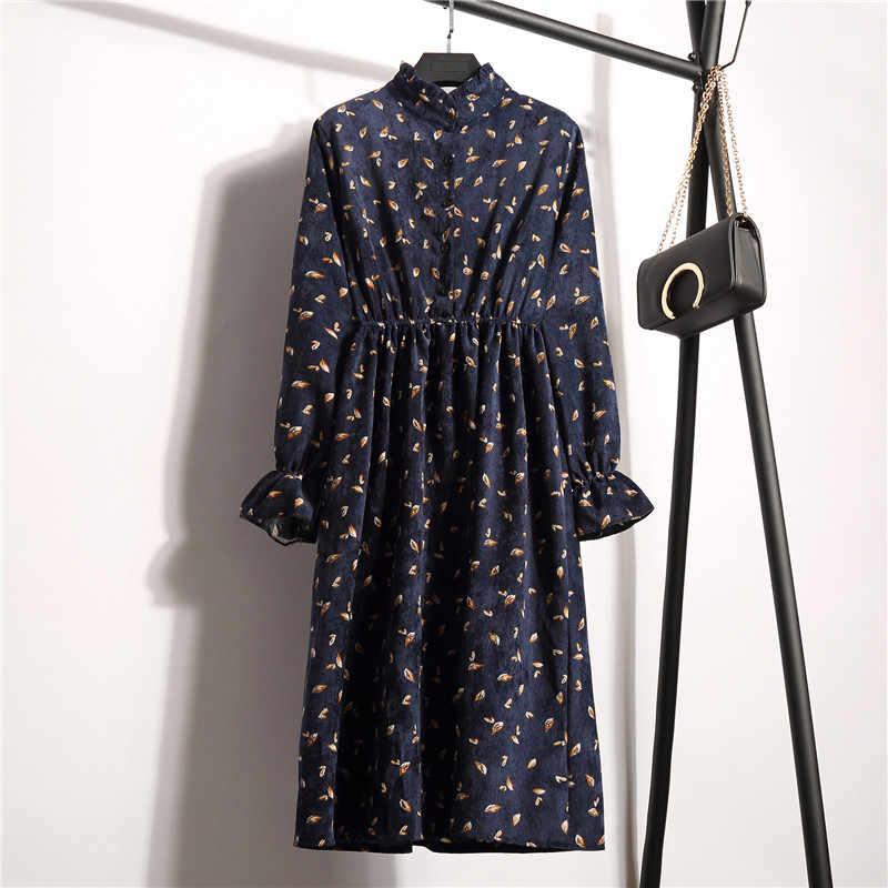 2019 חדש אופנה נשים של סתיו חורף שמלות בציר רופף צווארון עומד ארוך שרוולים פרחוני הדפסת אלסטי מותניים קורדרוי שמלה