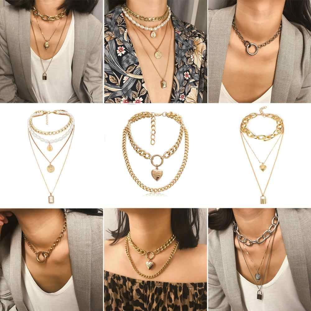Layer Geometric V Buckle Wide Choker Chunky Gold Silver Plated Necklaces Multi