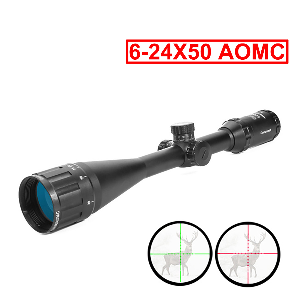 Riflescope 6-24X50 AOMC Red And Green Retical Fiber Optical Sight Hunting Rifle Scope For Airsoft Air Gun With Rail