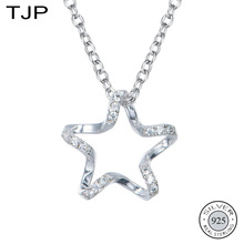 TJP S925 Silver Simple Pentagon Star Necklace Girl New Fashion Long Clavicle Chain Neck Jewelry