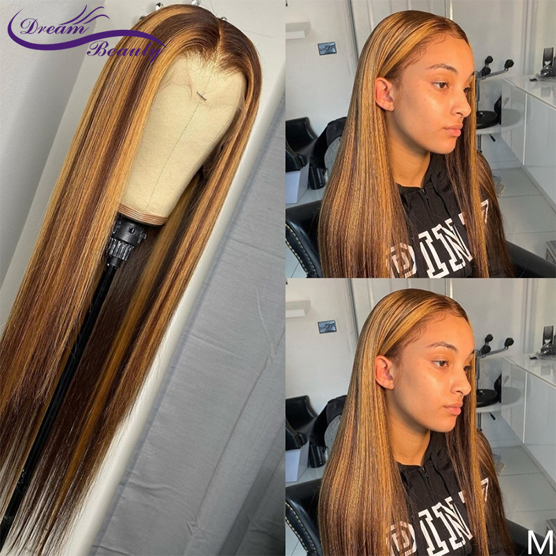#4/27 Ombre Highlight Color Lace Front Human Hair Wigs With Baby Hair 13X6 Straight Brazilian Remy Hair Lace Wigs Dream Beauty