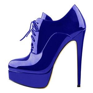 Image 4 - Onlymaker נשים סקסי גבוהה העקב פלטפורמת פטנט עור קרסול הנעל תחרה עד פגיון קומפי מגפי משאבות בתוספת גודל גדול נעליים 5 15