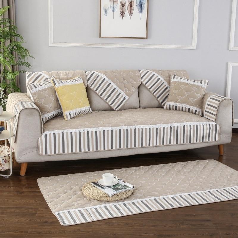 Купить полосатый тканевый чехол для дивана на четыре сезона нескользящая