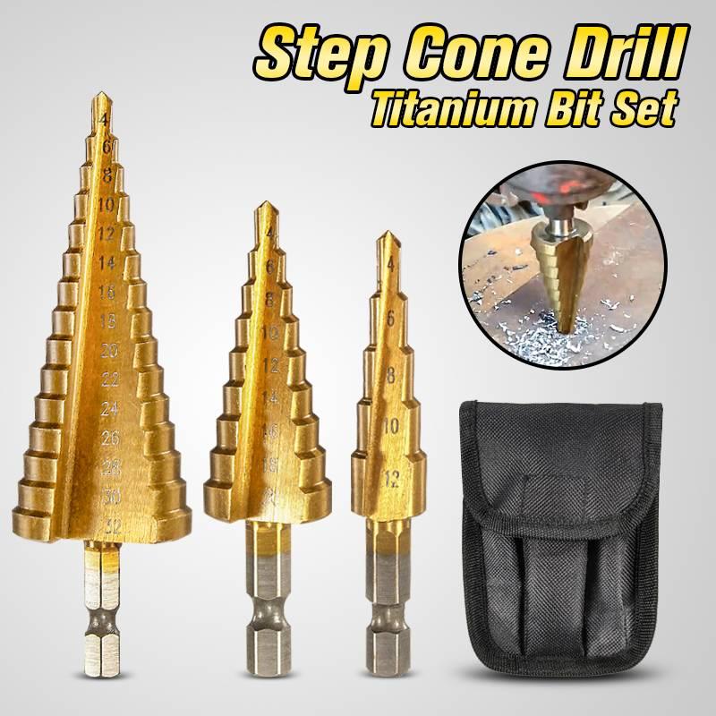 3pcs Hss Step Drill Bit Set Cone Hole Cutter Taper Metric 4 - 12 / 20 / 32mm 1 / 4