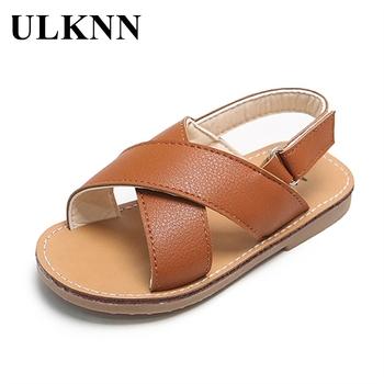 ULKNN chłopięce sandały 2021 letnie nowe skórzane wodoodporne dziecięce buty na plażę sandały niemowlęce dziewczęce buty na plażę 1-3-7 lat dzieci tanie i dobre opinie RUBBER 25-36m 3-6y 13-24m CN (pochodzenie) Lato Kobiet Miękka skóra Płaskie obcasy Hook loop Dobrze pasuje do rozmiaru wybierz swój normalny rozmiar