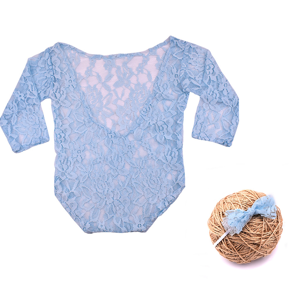 Newborn Hundred Days Photo Suit Lace Collar Long Sleeve Halter Bow Tie Set  Newborn Photography Props  CHD30008