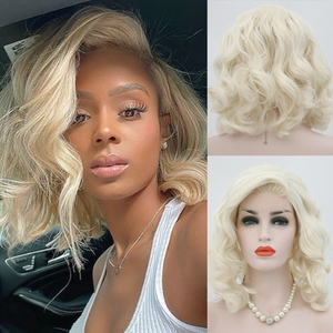 RONGDUOYI Shoulder Length Synthetic Lace Front Wig Blonde Wigs for Women Natural Wave Short Bob Wig with Side Part Blonded Wigs(China)