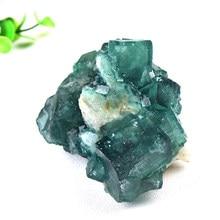 % 100% doğal taş yeşil florit Mineral kristal numune küme Mineral kristal örnekleri taşlar sağlık enerji şifa taşı