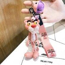 цена Cartoon Cute Animal Anime Pink Panther Keychain Rabbit Fur Ball Pom Pom Key Rings Bells Key Chains Women Car Bag Charms Pendan онлайн в 2017 году