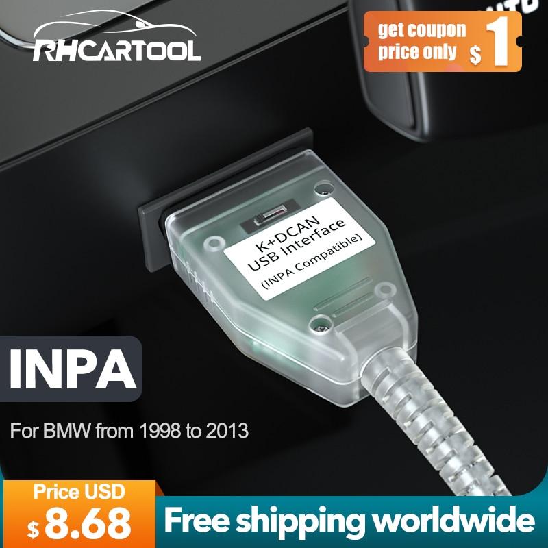 Диагностический инструмент OBD2 для BMW, сканер E60 E70 E80 X1 X5 INPA K + CAN с переключателем FTDI FT232RL, поддержка K Line для BMW 1998-2013
