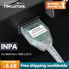 Obd2 ferramenta de diagnóstico para bmw scanner e60 e70 e80 x1 x5 inpa k + pode com interruptor ftdi ft232rl apoio k linha para bmw 1998 a 2013