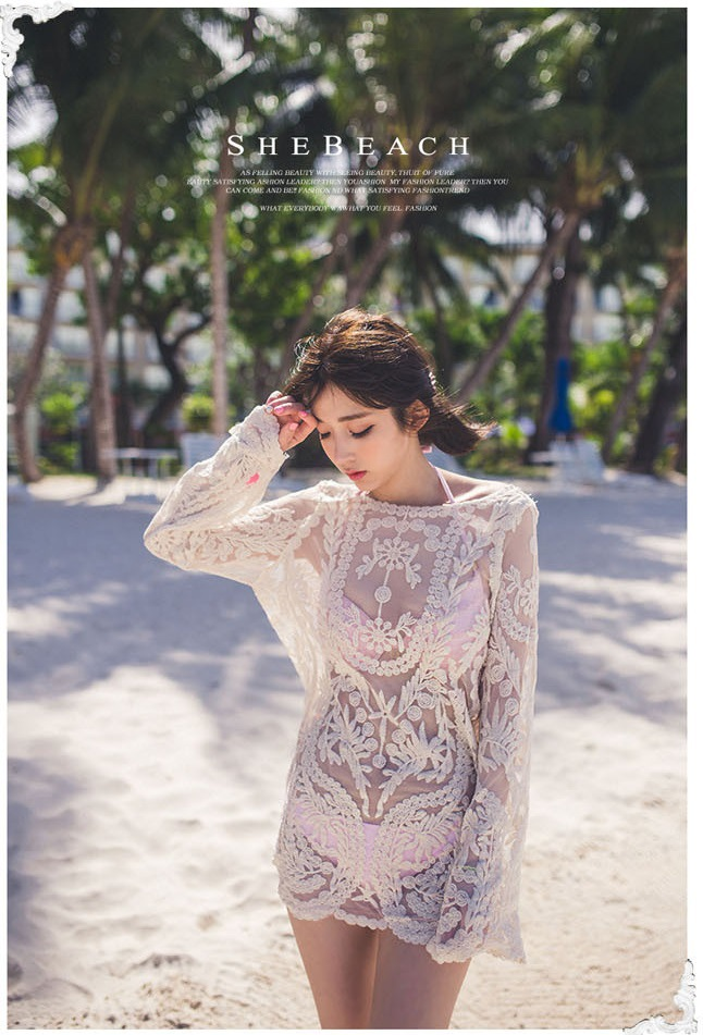 Water Soluble Lace Shirt Korean-style WOMEN'S Wear Pullover Blouse Beachwear Large Size Dress Gauze Stitched Pattern Tops Outdoo