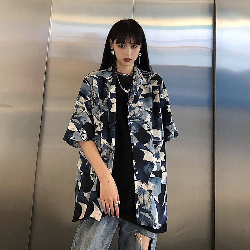 Japanese Ukiyo-E Harajuku Turn-Down Graffiti Cartoon Print Woman Blouse 2020 Summer Hip Hop Styly Vintage Lady Loose Shirts Tops