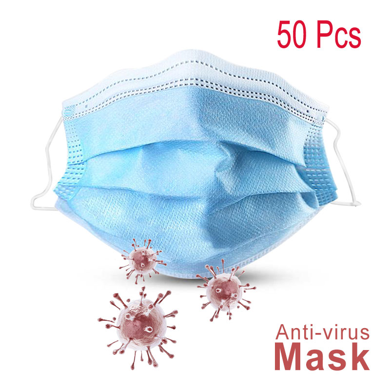 50pcs Meltblown Mouth Nose Face Masks Nonwove 3 Layer Ply Disposable Anti-Dust Earloop Masks Anti-dust Smoke PK KN95