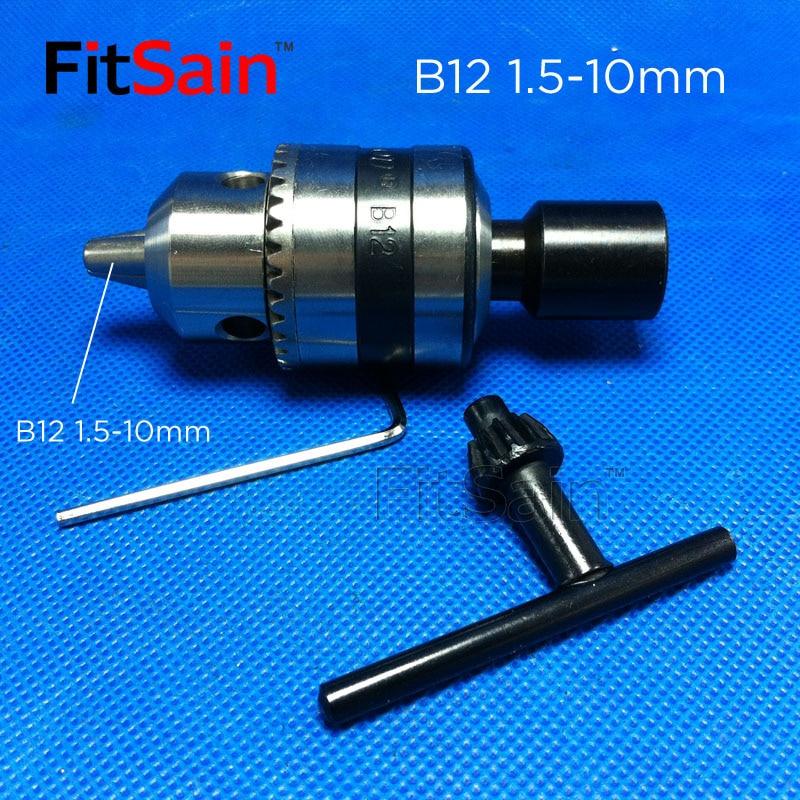FitSain-B12 1,5-10mm minipoolne padrun mootori võlli jaoks 5/6 / 6,35 / 8/10/12 / 14mm ühendusvarda elektritööriistade tarvikud puuripress