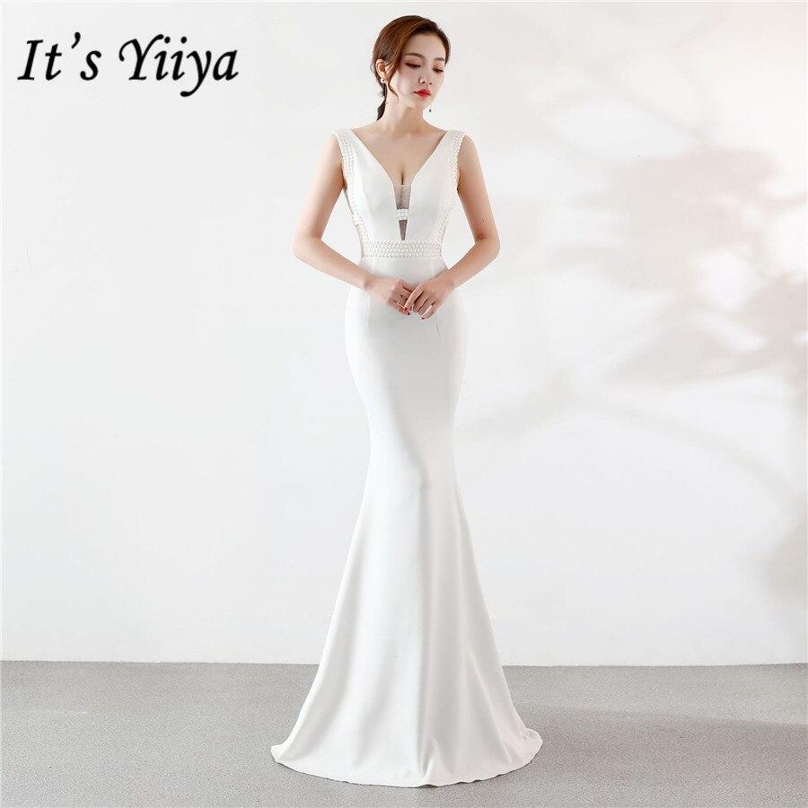 White Evening Gown It's Yiiya DX375 Mermaid V-neck Elegant Hollow Evening Dresses Sleeveless Long Satin Zipper Robe De Soiree