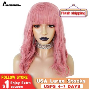 """Anogol 14"""" Pink Short Body Wave Bob High Temperature Fiber Black Grey Synthetic Wig For White Women With Bangs fringe + Cap(China)"""