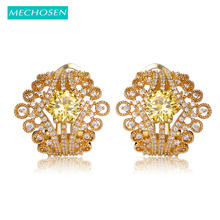 MECHOSEN Newest Crown Stud Earrings For Women Luxury Yellow Cubic Zirconia Copper Brincos Prong Setting Rhinestone Aretes Bijoux(China)
