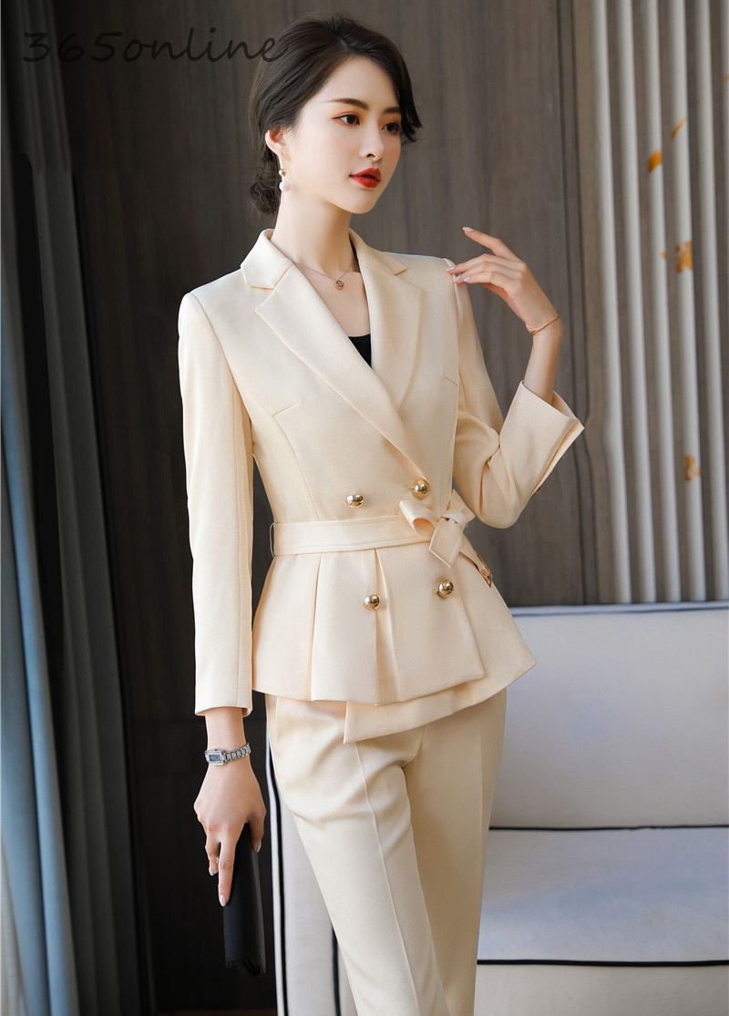 Elegant Beige Fashion Styles Women Business Suits Spring Autumn Female Pantsuits With Pants And Jackets Coat Ladies Blazers Set
