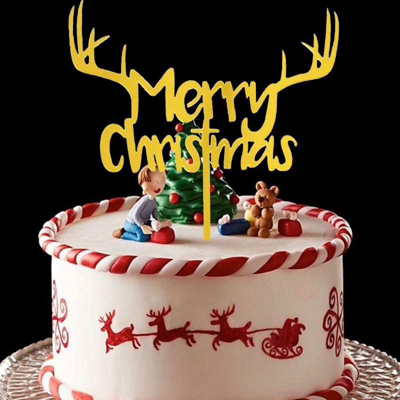 Acrylic Merry Christmas Cake Topper Party Dessert Table Dessert Dress Up DIY Baking Christmas Cake Decor Cake Flags Supplies