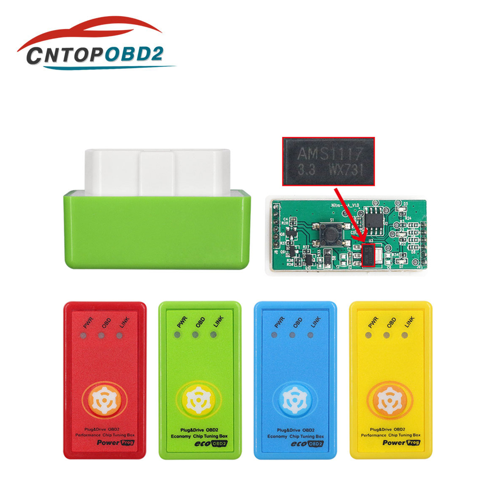 4 Colors Nitro OBD2 EcoOBD2 Reset Switch ECU Chip Tuning Box NitroOBD2 Eco OBD2 For Benzine Diesel Fuel Save More Power Torque