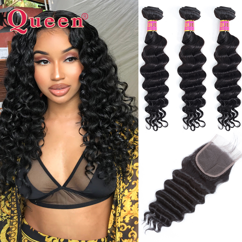 Queen Hair Products Loose Deep Wave Brazilian Hair Weave Bundles With Closure Brazilian Remy Human Hair Bundles With Closure