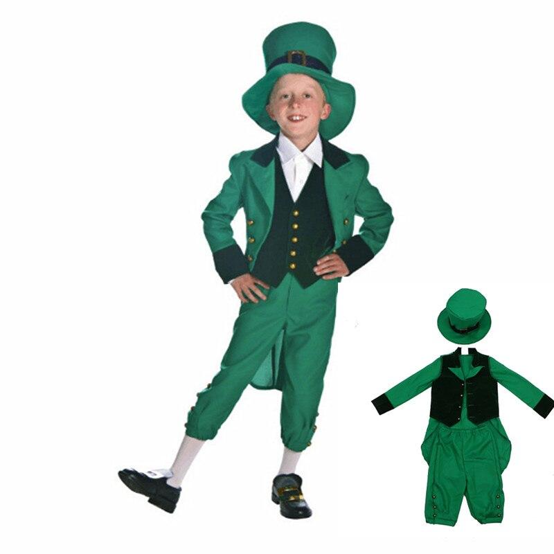 Latest Leprechaun Little Boy Irish Fairy Tale Classic Folk Costume St. Patrick Costume Kids Halloween Cosplay Hooded Costume